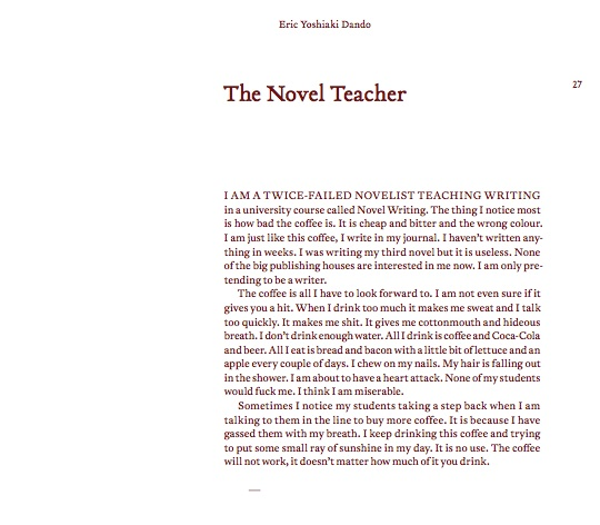 The Meditations Part VII: Eric Yoshiaki Dando on 'The Novel Teacher'
