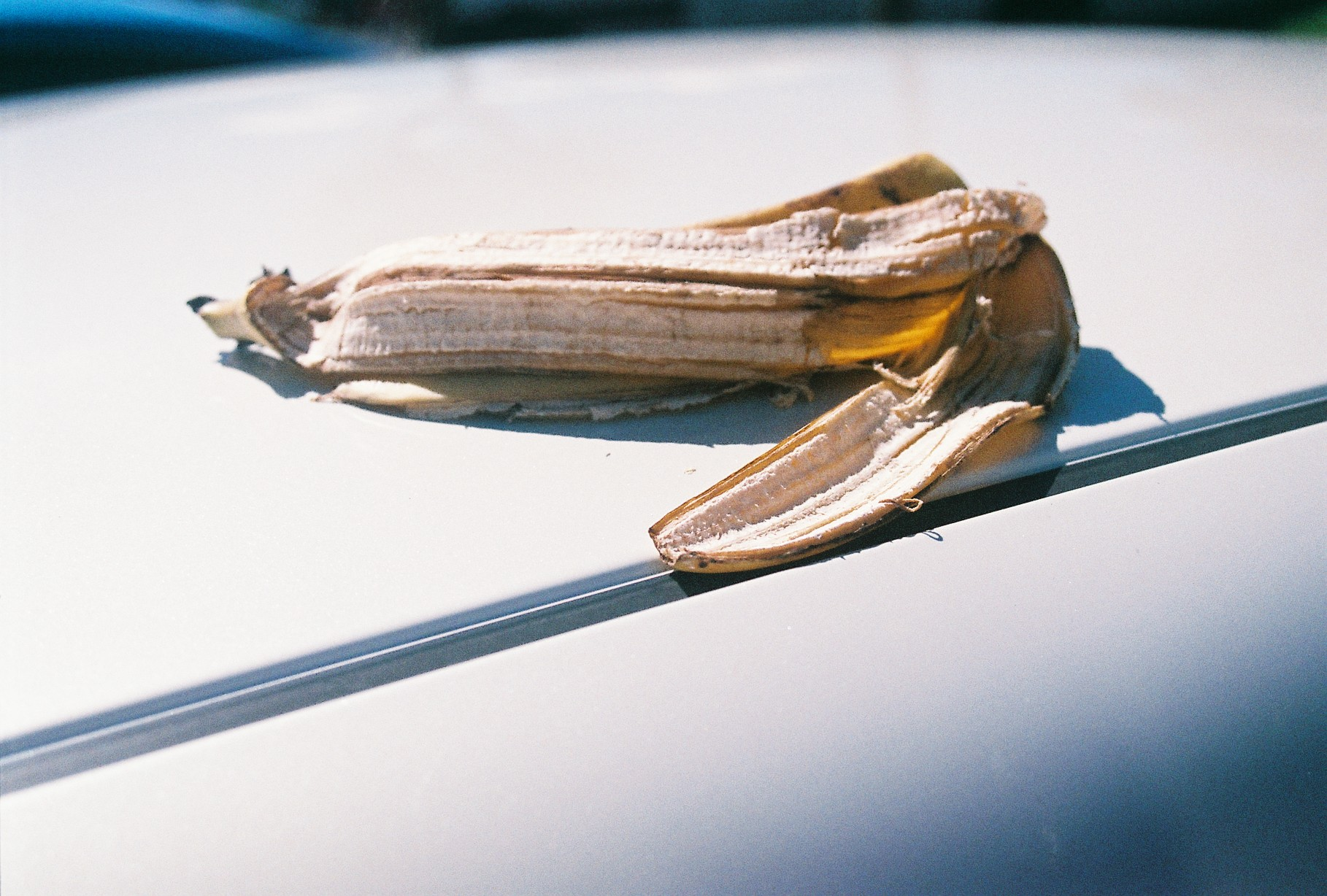 a banana skin on the roof of a white car